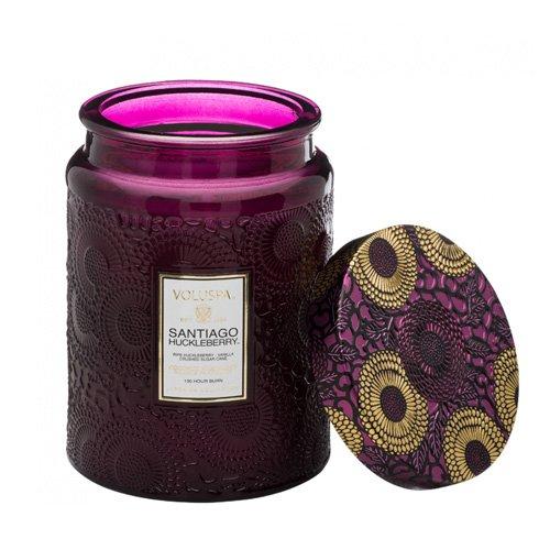 Buy Voluspa Santiago Huckleberry Large Embossed Glass Jar Candle 18 Ounces Online In Uganda B00uvqiepq