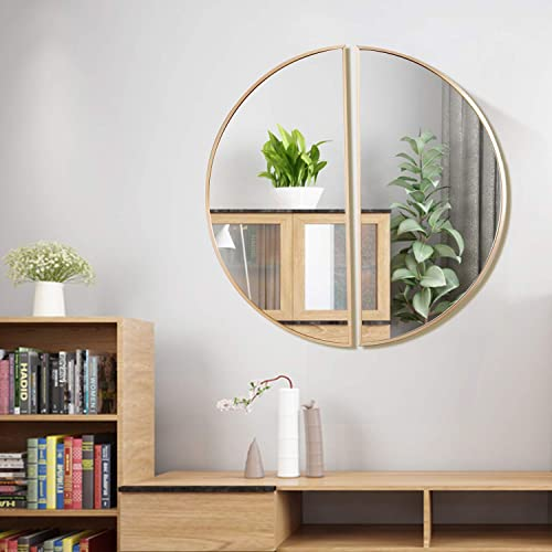 Buy Commoda Mordern Style Contemporary Brushed Metal Wall Mirror Glass Panel Brush Gold Framed Two Pcs Set Design Mirrored Round Hangs Horizontal Or Vertical Dia 28 Online In Uganda B07vp8tj1h