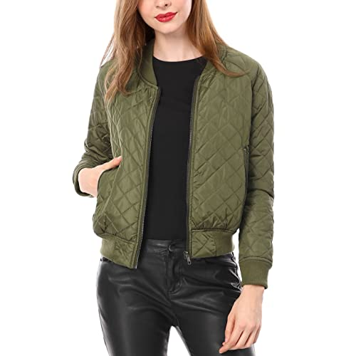 Buy Allegra K Women's Raglan Long Sleeves Quilted Zip Up Bomber Jacket with  Pockets Online in Uganda. B07GQ8XZ5G