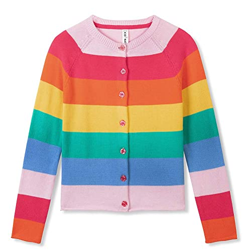 Kid Nation Kids Sweater Long Sleeve Rainbow Stripe Pullover Round Neck Cotton Knit for Boys and Girls School Uniform