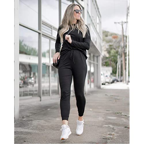 PRETTYGARDEN Women/'s Solid Two Piece Outfit Long Sleeve Crewneck Pullover Tops And Long Pants Sweatsuits Tracksuits
