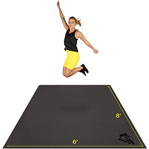 Premium Extra Large Exercise Mat 8 x 6 x 7mm Plyo Ideal for Cardio MMA and Yoga Bonus Jump Rope and Storage Bag Included Fitness Ultra-Durable Non-Slip Rubber Workout Mat for Home Gym Floor