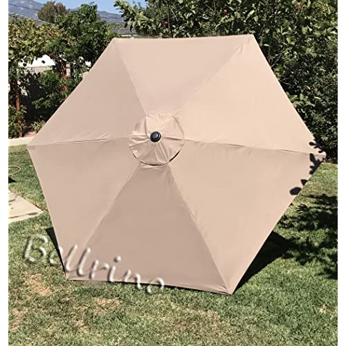BELLRINO Replacement Umbrella Canopy for 9ft 6 Ribs Tan//Light Coffee Canopy Only