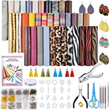 Earring Cut Molds and Earrings Making Tools Kit for Making Leather Earrings Bows and Crafts 6.3 X 8.3 inch Caydo 3 Style 18 Pieces Faux Leather Sheets with Instructions